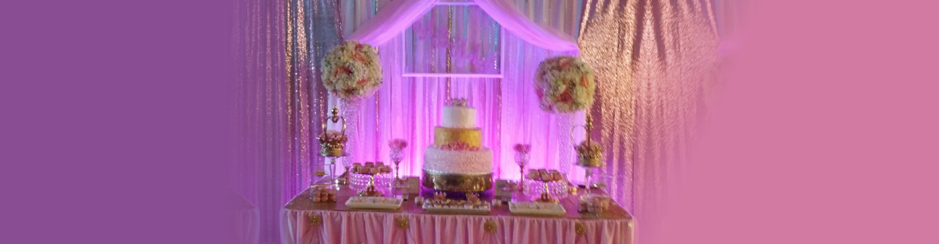 birthday cake with violet background color